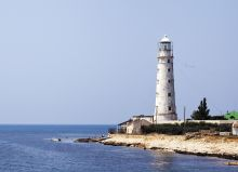 Postcard Tarkhankut lighthouse. Crimea