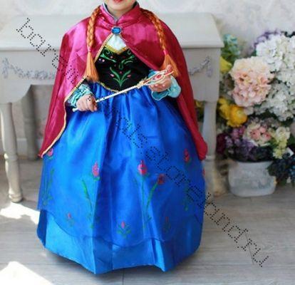 Платье костюм Анны Холодное сердце с накидкой рост 120 см
