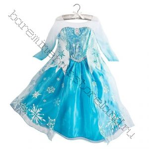 Платье Эльзы холодное сердце серебристый шлейф 120, 130, 140 см